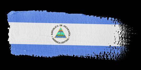 central america: Brushstroke Flag Nicaragua Stock Photo