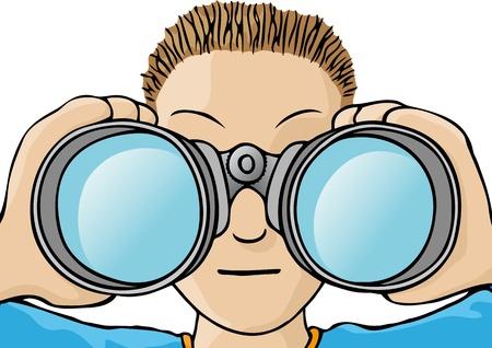 Kind mit einem Fernglas Vektorgrafik