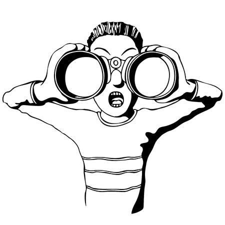 kijker: kind met een verrekijker Stock Illustratie