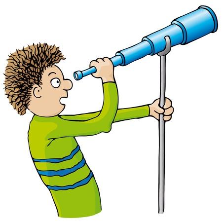 観察: 望遠鏡を持つ子供  イラスト・ベクター素材