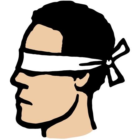 blind man: Blindfolded Illustration