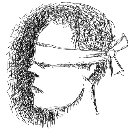 covered: blindfolded person Illustration