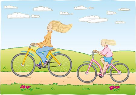 pedaling: mother and daughter cycling Illustration