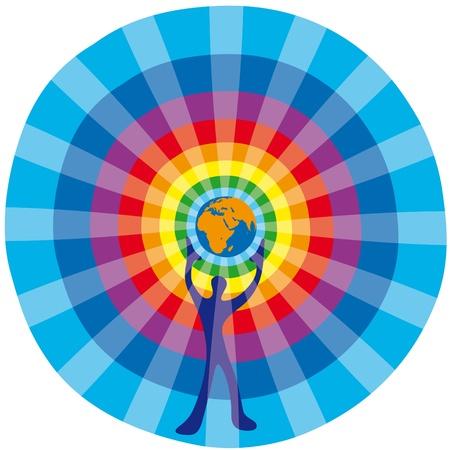 calentamiento global: Hombre y Globo