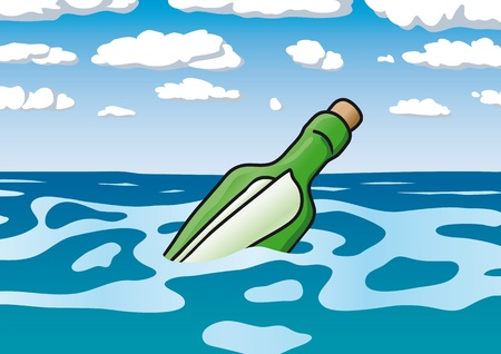 message in a bottle Stock Vector - 10570186