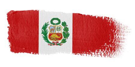 bandera de peru: Bandera de pincelada Perú Foto de archivo