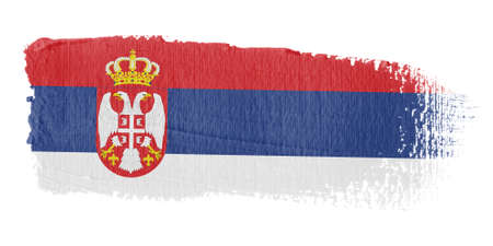 serbia: Brushstroke Flag Serbia Stock Photo