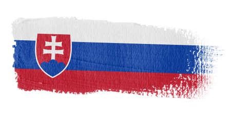 slovakia flag: Brushstroke Flag Slovakia Stock Photo