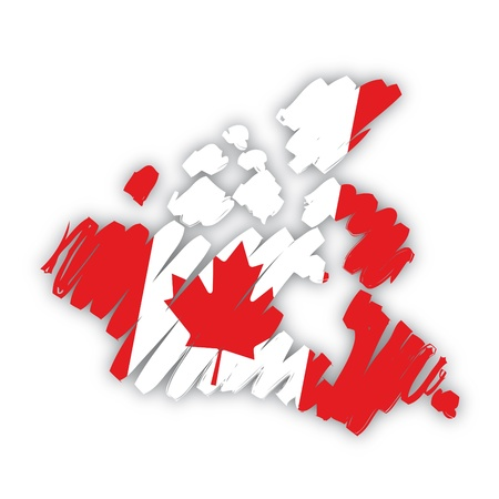sketch map flag Canada Vector