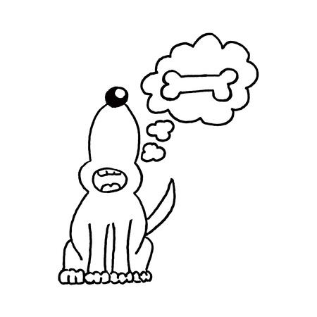 dog eating: dog and bone