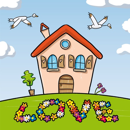 happy young people: Dream Home Illustration