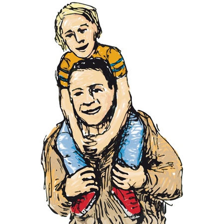 dad son: Child astride Illustration