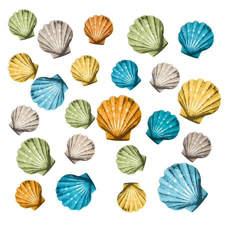 scallops: shells background Illustration