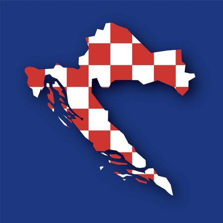 croatia flag: Croatia map flag Illustration