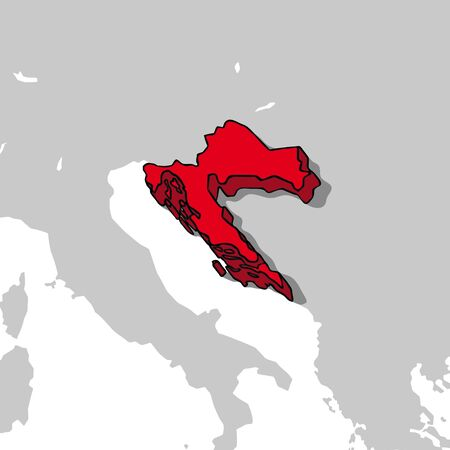 croatia: Croatia 3d map