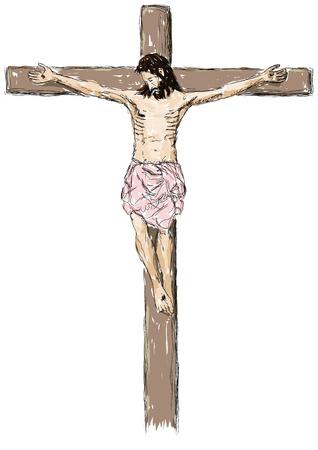 Jesus crucified Vector