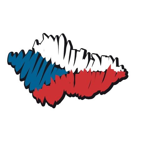 czechoslovakia: map flag Czech Republic