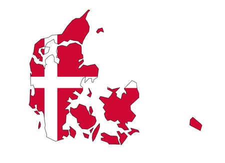 danish flag: map flag of Denmark