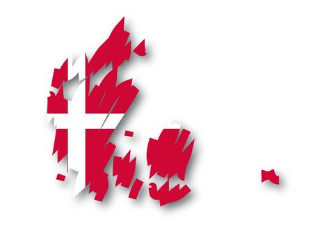 relief maps: map flag of Denmark