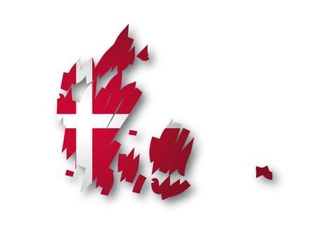 denmark flag: map flag of Denmark