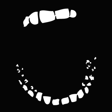 口: 口を大きく開いて
