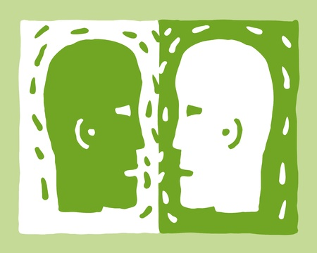 two heads Stock Vector - 10590405