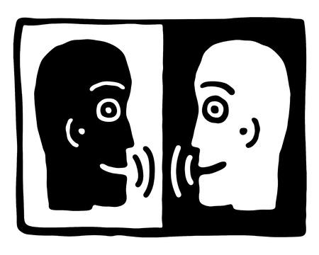 kommunikation: två huvuden