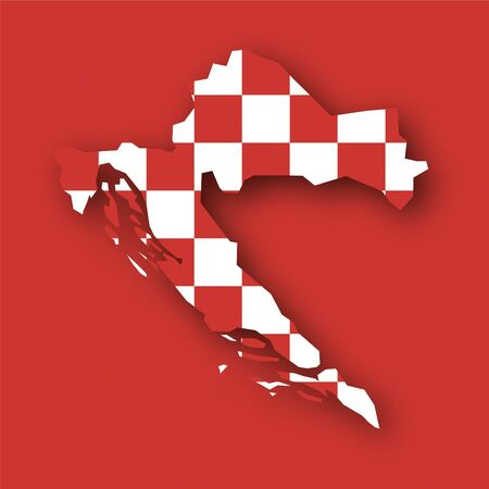 croatia flag: map flag Croatia Stock Photo