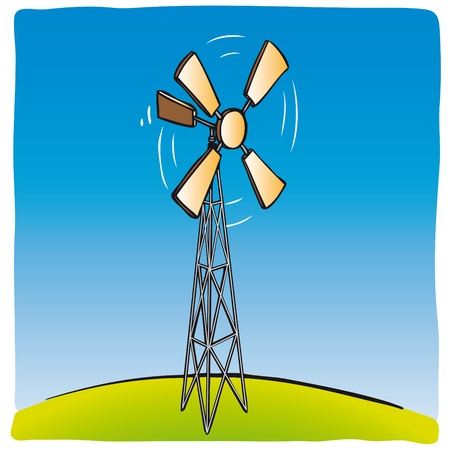 Old wind turbine Vector