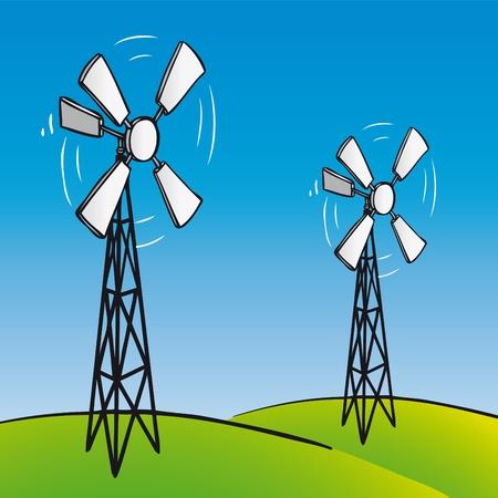 wind wheel: Eolico Vecchio Vettoriali