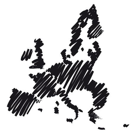 europeans: Mappa schizzo Europa Archivio Fotografico