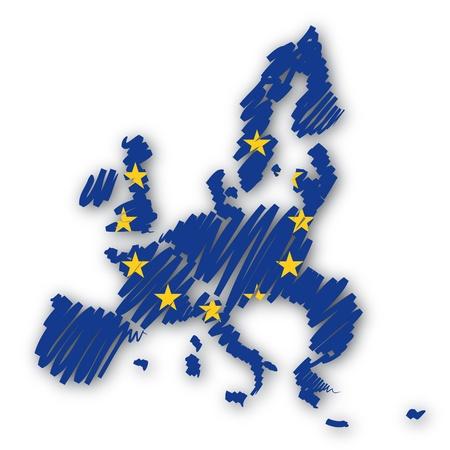 brushwork: Map sketch Europe Stock Photo
