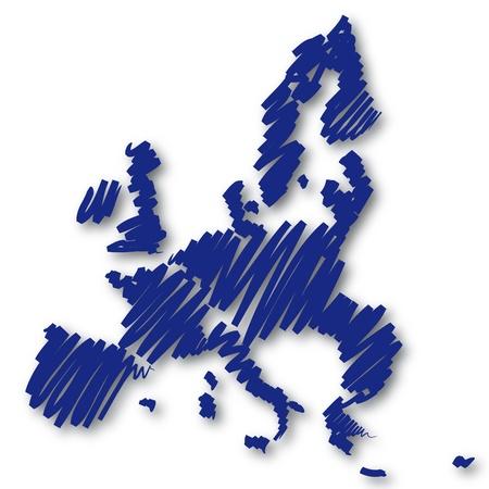 mapa de europa: Boceto del mapa Europa Foto de archivo