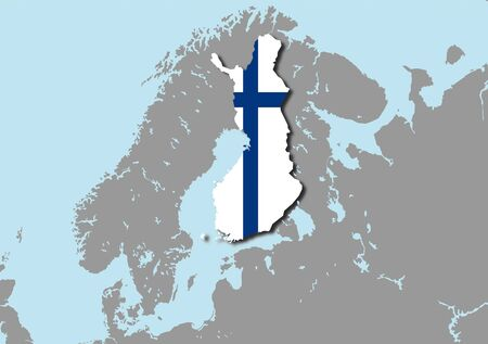 graphing: map flag Finland Stock Photo