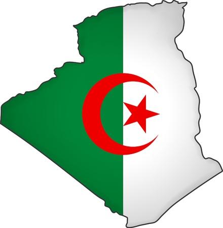algerian flag: map flag Algeria