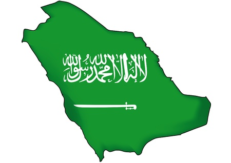 arabia: map flag Saudi Arabia Illustration