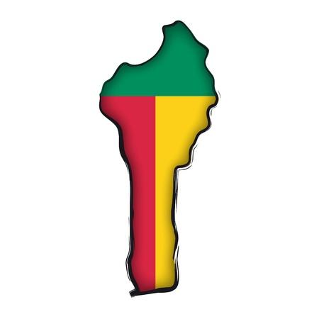map flag Benin Vector