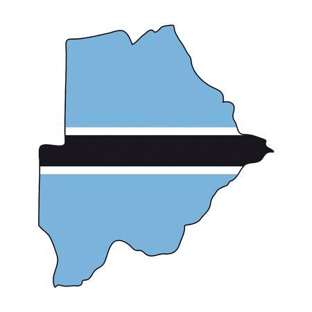 botswana: map flag Botswana Illustration