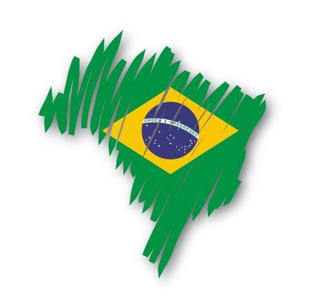 brazilian: map flag Brazil