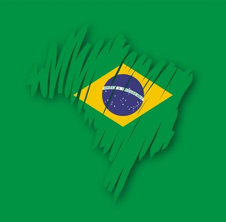map flag Brazil Vector