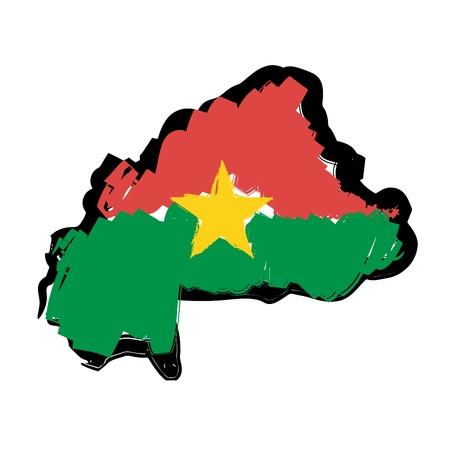 burkina faso: map flag Burkina Faso