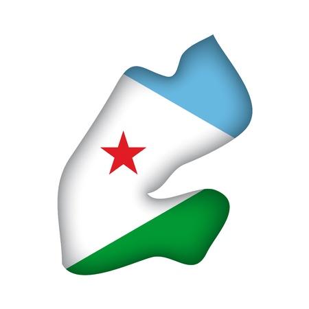 djibouti: map flag Djibouti Illustration
