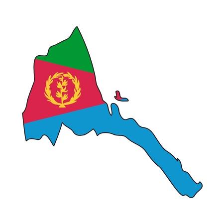 eritrea: map flag Eritrea