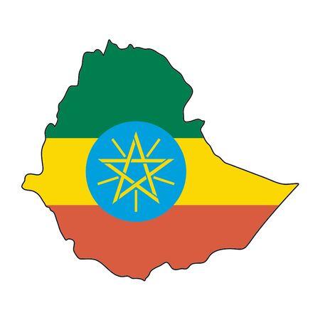 ethiopia: map flag Ethiopia Illustration