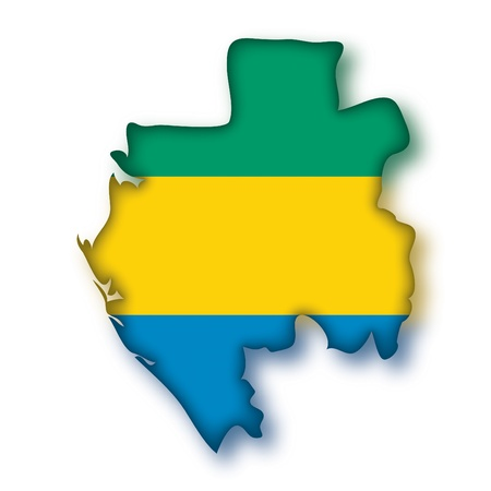 gabon: map flag Gabon Illustration
