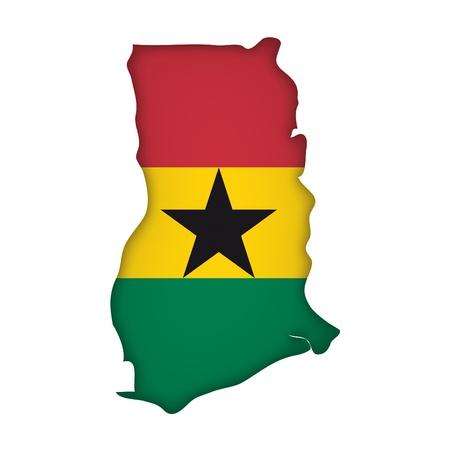 ghana: Carte de drapeau du Ghana