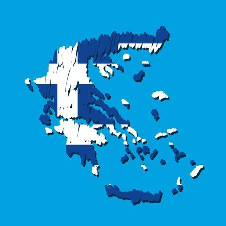 map flag Greece Vector