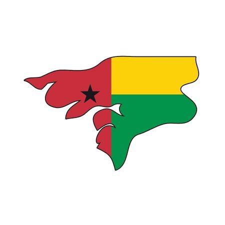 guinea bissau: map flag Guinea Bissau