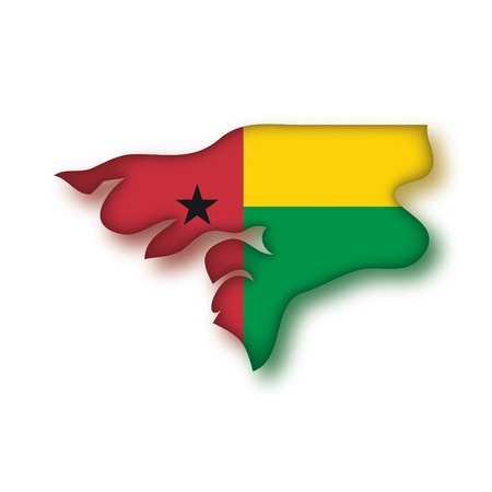 bissau: map flag Guinea Bissau