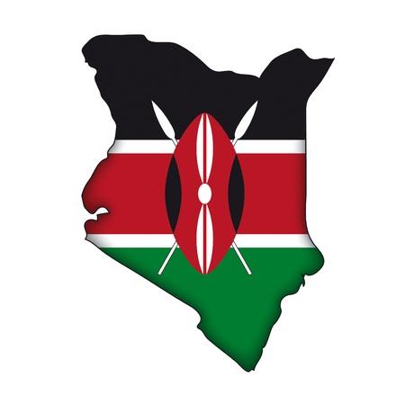 географический: Карта флагом Кении Иллюстрация